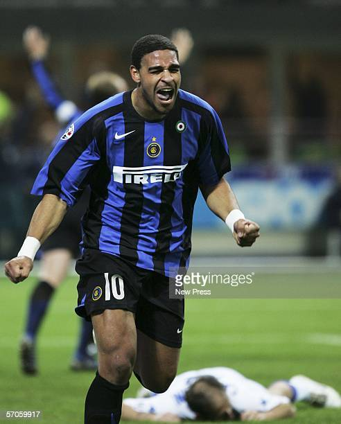 Adriano of Inter celebrates scoring during the Serie A game between Inter Milan and Sampdoria at the San Siro on March 11 2006 in Milan Italy