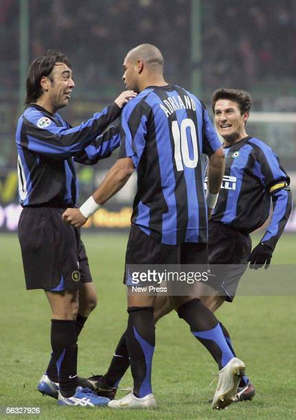 Adriano of Inter celebrates with teammates after scoring during the Serie A match between Inter Milan and Ascoli at the San Siro stadium on December...