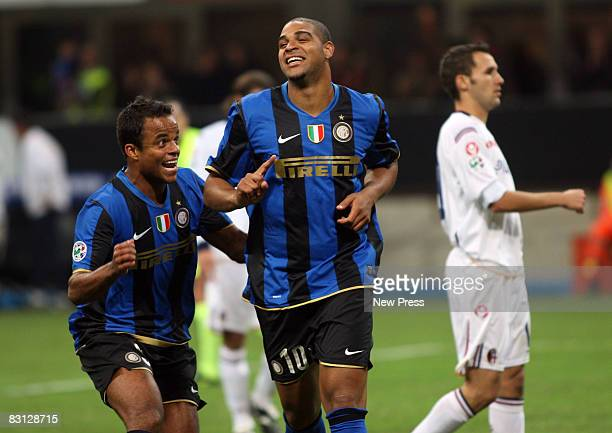 Adriano of Inter Milan celebrates after scoring the second goal from the penalty spot with Alessandro Mancini during the Serie A match between FC...