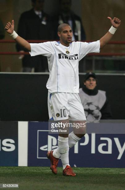 Adriano of Inter Milan celebrates during the UEFA Champions League match between Inter Milan and FC Porto at the San Siro stadium on March 15 2005 in...
