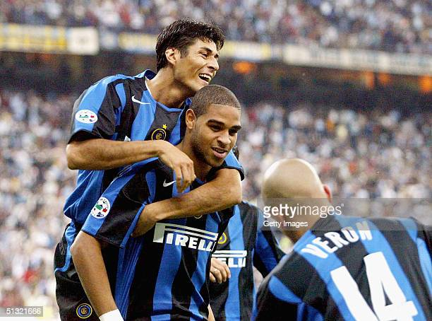 Adriano of Inter Milan celebrates his goal against Palermo during the Serie A match between Inter Milan and Palermo on 18 September 2004 in Milan...