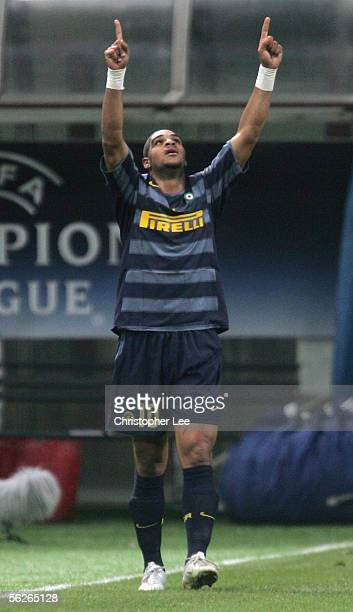 Adriano of Inter Milan celebrates scoring their second goal during the Champions League Group H match between Inter Milan and FC Artmedia Bratislava...