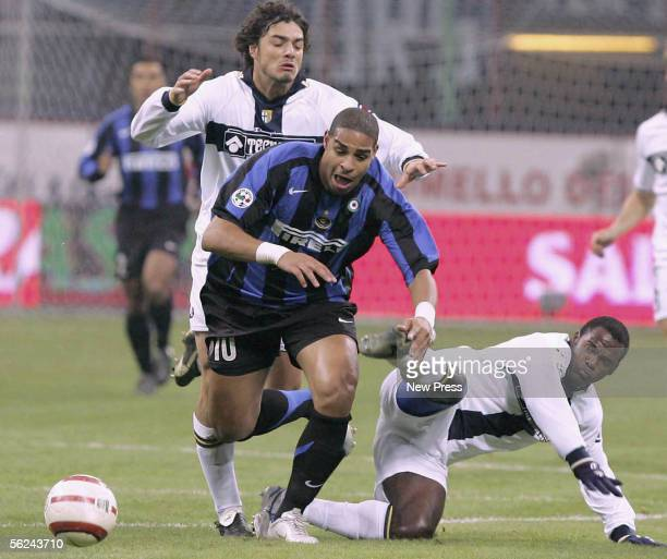 Adriano of Inter Milan in action during the Serie A match between Inter Milan and Parma at the Giuseppe Meazza San Siro Stadium on November 20 2005...