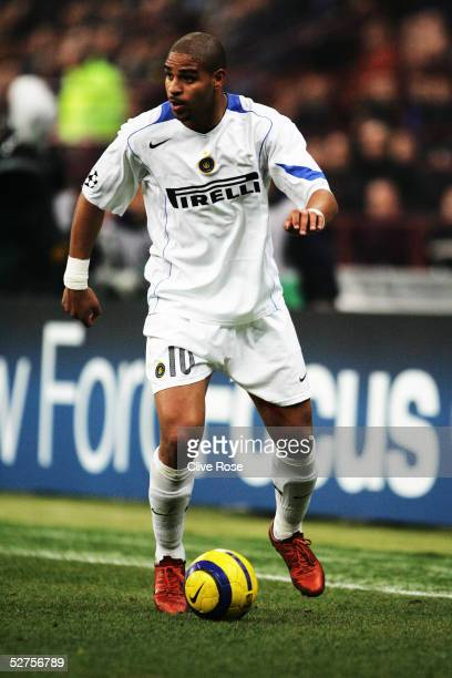 Adriano of Inter Milan in action during the UEFA Champions League match between Inter Milan and FC Porto at the San Siro stadium on March 15 2005 in...