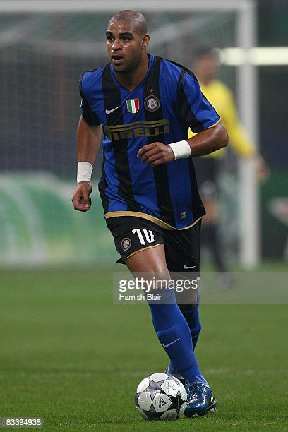Adriano of Inter Milan runs with the ball during the UEFA Champions League Group B match between Inter Milan and Anorthosis Famagusta at the Stadio...