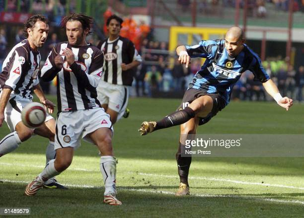 Adriano of Inter scores during the Inter Milan v Udinese Serie A match played at the San Siro Guisseppe Meazza October 17 2004 in Milan Italy