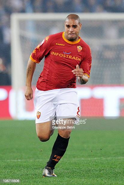 Adriano of Roma in action during the Tim Cup match between Roma and Lazio at Stadio Olimpico on January 19 2011 in Rome Italy