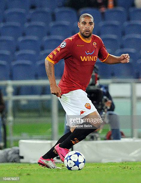 Adriano of Roma in action during the UEFA Champions League group E match between AS Roma and CFR Cluj at Stadio Olimpico on September 28 2010 in Rome...