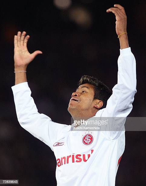 Adriano of Sport Club Internacional celebrates his goal during the final of the FIFA Club World Cup Japan 2006 between Sport Club Internacional and...