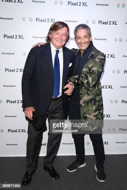 Adriano Panatta and Rosario Fiorello walk a red carpet for 'Borg McEnroe' during the 12th Rome Film Fest at Auditorium Parco Della Musica on November...
