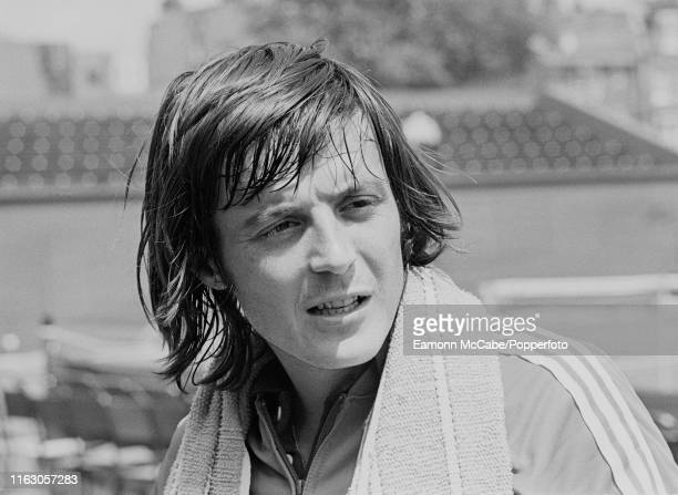 Adriano Panatta of Italy after a training session before the start of the Wimbledon Championships on June 16 1977 in London England