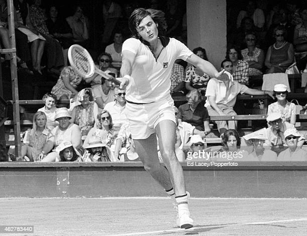 Adriano Panatta of Italy in action at Wimbledon circa June 1975 Panatta lost in the third round to Raul Ramirez of Mexico in straight sets