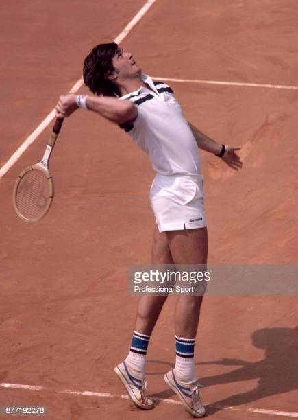 Adriano Panatta of Italy in action during the French Open Tennis Championships at the Stade Roland Garros circa May 1981 in Paris France