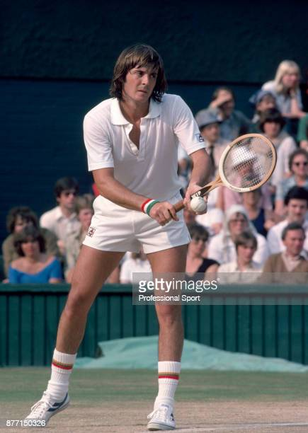 Adriano Panatta of Italy in action during the Wimbledon Lawn Tennis Championships at the All England Lawn Tennis and Croquet Club circa June 1979 in...