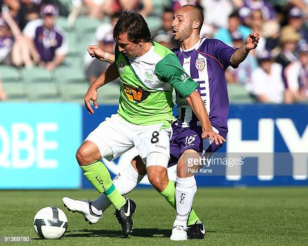 Adriano Pellegrino of the Glory and Shane Stefanutto of the Fury compete for the ball during the round nine ALeague match between the Perth Glory and...