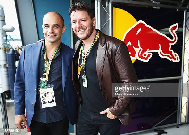 Adriano Zumbo and Manu Feildel visit the Infinti Red Bull Racing garage before qualifying for the Australian Formula One Grand Prix at the Albert...