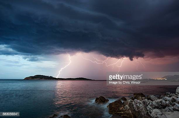 adriatic lightning - weather stock pictures, royalty-free photos & images