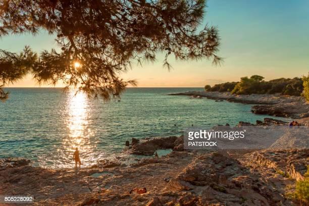 Adriatic sea beach at sunset