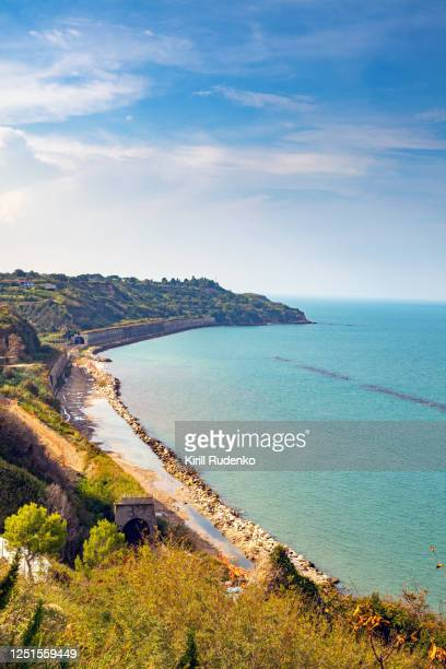 adriatic seashore on a summer day - abruzzi stock pictures, royalty-free photos & images