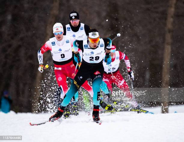 Adrien Backscheider of France competes in the sprint quarterfinal heat during the FIS Cross Country Ski World Cup Final on March 22 2019 in Quebec...