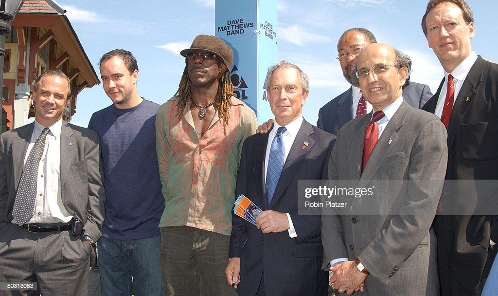 Adrien Benepe, Dave Matthews, Boyd Tinsley, New York City Mayor Michael R. Bloomberg, Richard Parsons, Joel Klein and Jon Miller