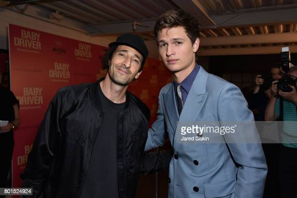 Adrien Brody and Ansel Elgort attend TriStar Pictures with The Cinema Society Avion host a screening of Baby Driver at Metrograph on June 26 2017 in...