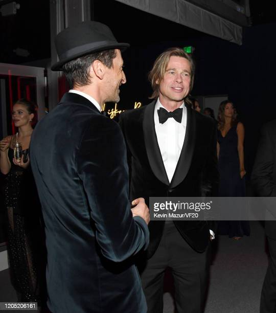 Adrien Brody and Brad Pitt attend the 2020 Vanity Fair Oscar Party hosted by Radhika Jones at Wallis Annenberg Center for the Performing Arts on...