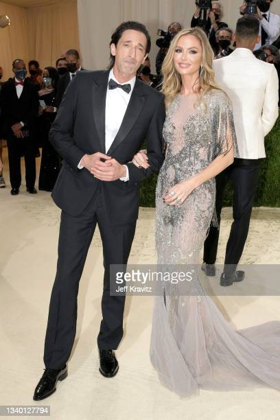 Adrien Brody and Georgina Chapman attend The 2021 Met Gala Celebrating In America: A Lexicon Of Fashion at Metropolitan Museum of Art on September...