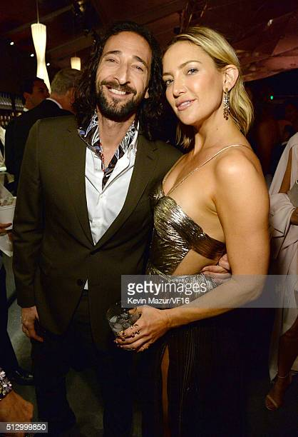 Adrien Brody and Kate Hudson attend the 2016 Vanity Fair Oscar Party Hosted By Graydon Carter at the Wallis Annenberg Center for the Performing Arts...