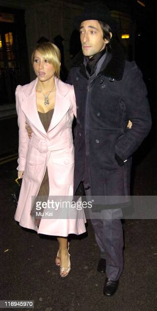 Adrien Brody and Michelle Dupont during Celebrity Sightings at the Ivy in London - December 8, 2005 at Ivy Restaurant in London, United Kingdom.