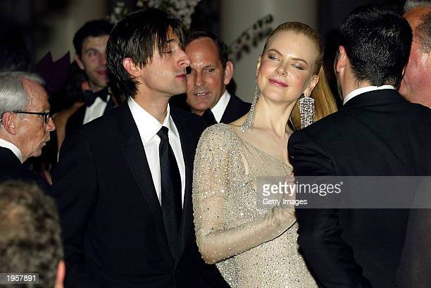 Adrien Brody and Nicole Kidman attend the Costume Institute Benefit Gala sponsored by Gucci April 28 2003 at The Metropolitan Museum of Art in New...