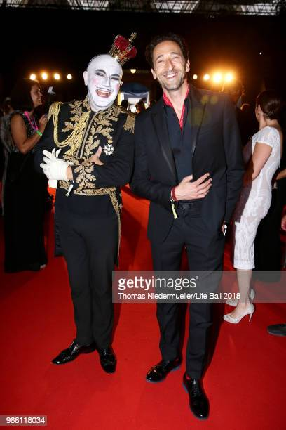 Adrien Brody and Principe Maurice attend the LIFE Solidarity Gala prior to the Life Ball at City Hall on June 2 2018 in Vienna Austria The Life Ball...