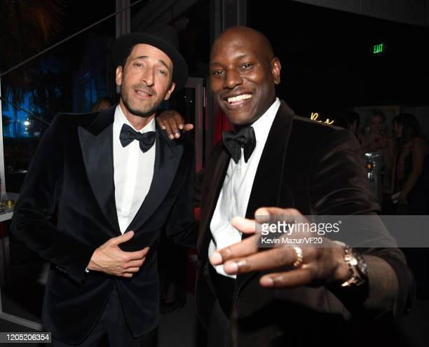 Adrien Brody and Tyrese Gibson attend the 2020 Vanity Fair Oscar Party hosted by Radhika Jones at Wallis Annenberg Center for the Performing Arts on...