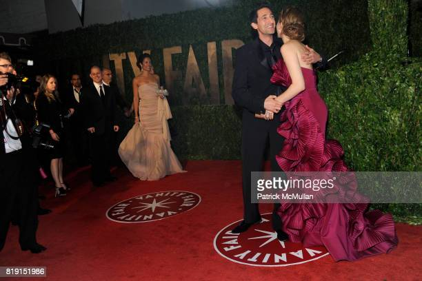 Adrien Brody and Vera Farmiga attend VANITY FAIR Oscar Party ARRIVALS at Sunset Tower Hotel on March 7 2010 in West Hollywood California