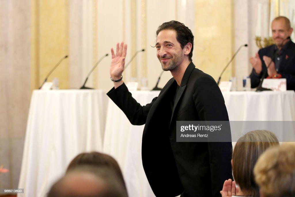 Adrien Brody arrives at the Life Ball 2018 international press conference at Albertina on June 2, 2018 in Vienna, Austria. The Life Ball, an annual charity event raising funds for HIV & AIDS projects, celebrates its 25th anniversary this year at Vienna's City Hall.