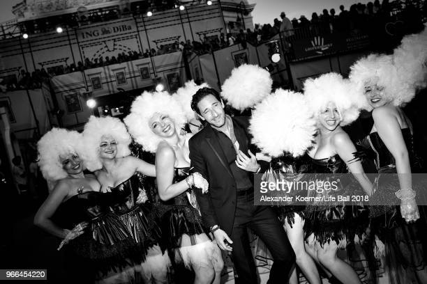 Adrien Brody arrives at the Life Ball 2018 on June 2 2018 in Vienna Austria The Life Ball an annual charity event raising funds for HIV AIDS projects...