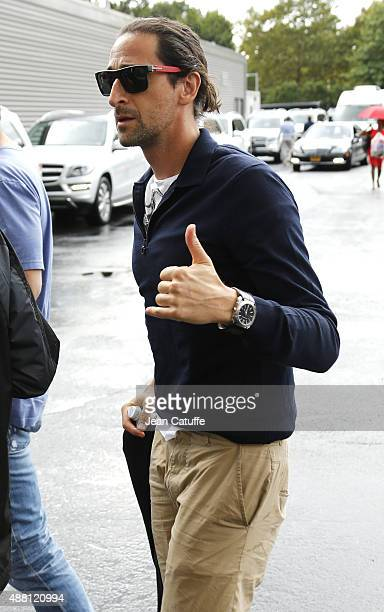 Adrien Brody arrives to attend the Men's Final on day fourteen of the 2015 US Open at USTA Billie Jean King National Tennis Center on September 13...