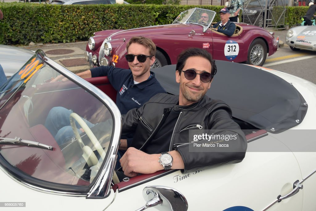Adrien Brody attends the 1000 Miles Historic Road Race on May 16, 2018 in Brescia, Italy. (Photo by Pier Marco Tacca/Getty Images).