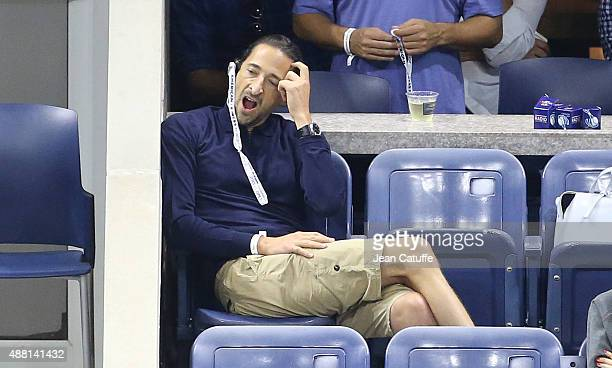 Adrien Brody attends the Men's Final on day fourteen of the 2015 US Open at USTA Billie Jean King National Tennis Center on September 13 2015 in the...