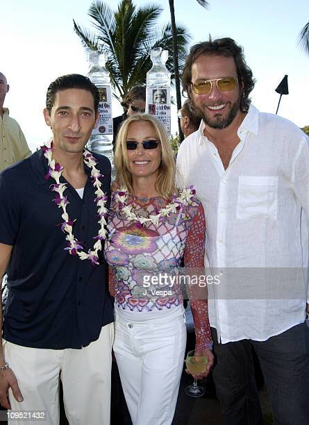 Adrien Brody Bo Derek and John Corbett during 2002 Maui Film Festival VIP Press Reception hosted by Spago at the Four Seasons at Four Seasons Hotel...