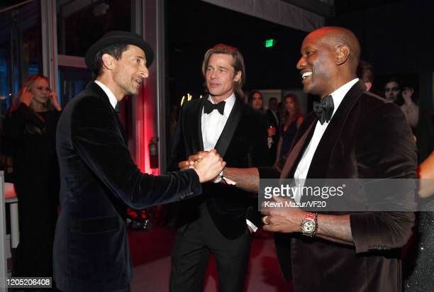 Adrien Brody Brad Pitt and Tyrese Gibson attend the 2020 Vanity Fair Oscar Party hosted by Radhika Jones at Wallis Annenberg Center for the...