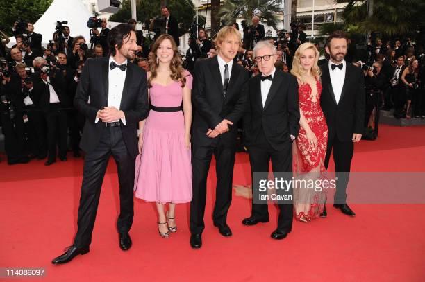 Adrien Brody, Lea Seydoux, Owen Wilson, Director Woody Allen, Rachel McAdams, and Michael Sheen attend the 'Midnight In Paris' premiere at the Palais...