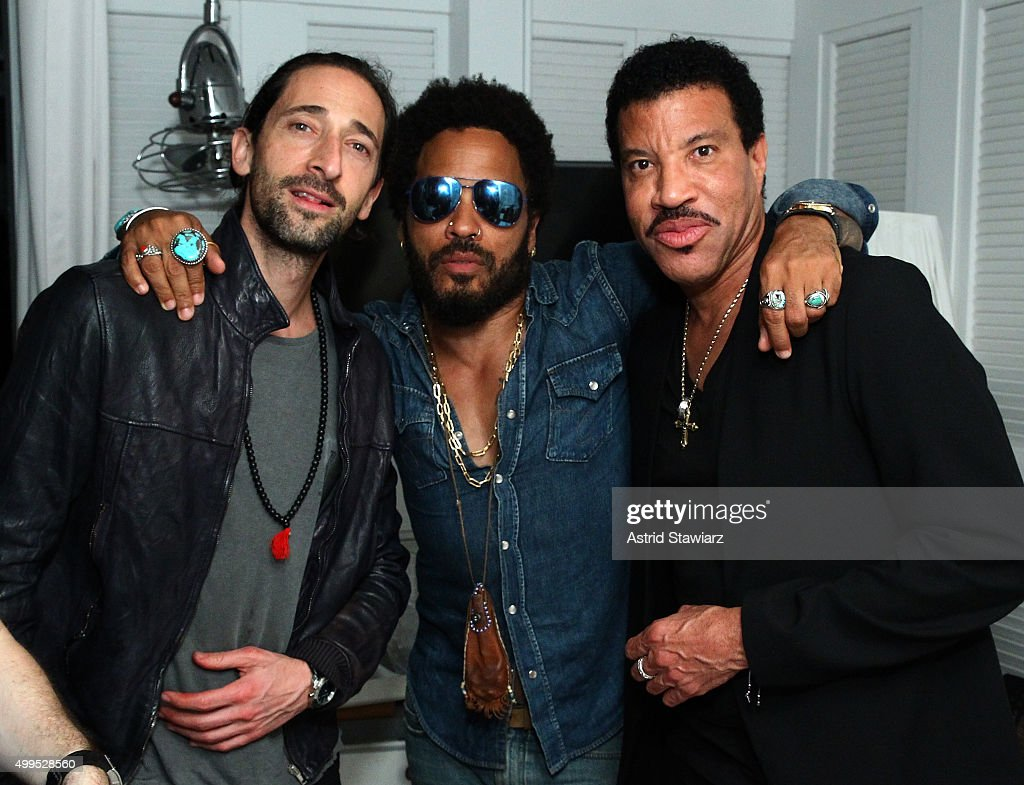Adrien Brody, Lenny Kravitz and Lionel Richie attend DuJour Magazine's Jason Binn Celebrates Annual Art Basel Miami Beach Kick-Off Party presented by Blackberry PRIV & 50 Bleu at Delano Beach Club on December 1, 2015 in Miami Beach, Florida.