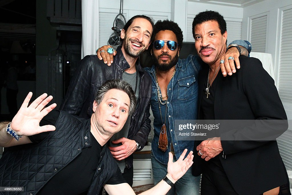 Adrien Brody, Lenny Kravitz, Lionel Richie, and Jason Binn attend DuJour Magazine's Jason Binn Celebrates Annual Art Basel Miami Beach Kick-Off Party presented by Blackberry PRIV & 50 Bleu at Delano Beach Club on December 1, 2015 in Miami Beach, Florida.