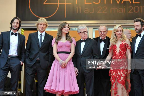 Adrien Brody Owen Wilson Lea Seydoux and director/writer Woody Allen Frederic Mitterrand Rachel McAdams attend the 'Midnight In Paris' premiere at...