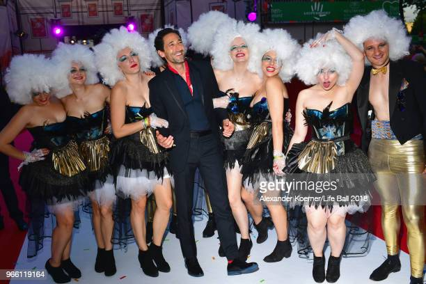 Adrien Brody poses with guests at the Life Ball 2018 at City Hall on June 2 2018 in Vienna Austria The Life Ball an annual charity event raising...