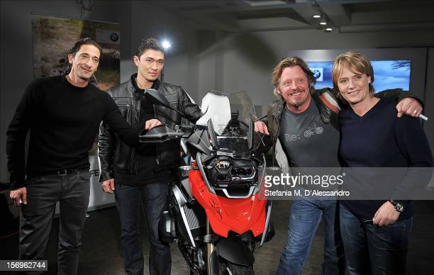 Adrien Brody Rick Yune Charley Boorman and Jutta Kleinschmidt attend the BMW 'Ride of your Life' Promotion Event on November 15 2012 in Rome Italy