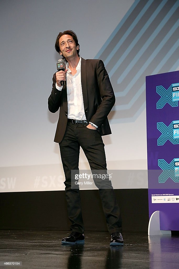 Adrien Brody speaks to the audience after a screening of 'Stone Barn Castle' at the Topfer Theater during the South by Southwest Film Festival on March 14, 2015 in Austin, Texas.