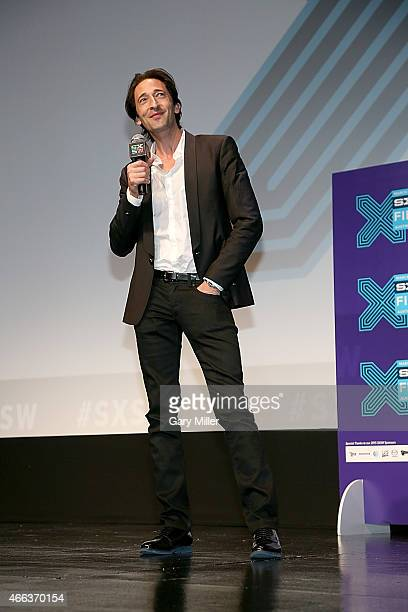 Adrien Brody speaks to the audience after a screening of Stone Barn Castle at the Topfer Theater during the South by Southwest Film Festival on March...