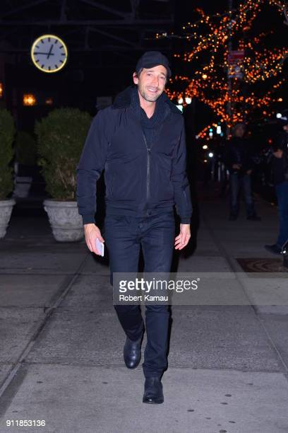 Adrien Brody steps out for a walk in Manhattan on January 28 2018 in New York City